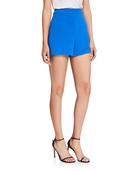 Alice + Olivia Hera High-Waist Seamed Back-Zip Shorts