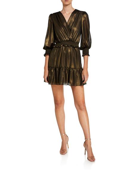 Amanda Uprichard LORALEE 3/4-SLEEVE SMOCKED METALLIC SHORT DRESS
