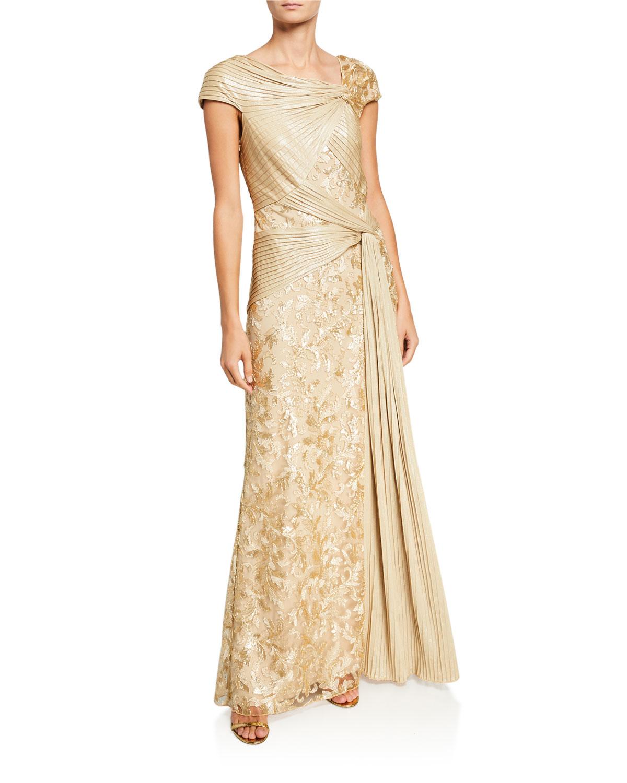 Tadashi Shoji Cap Sleeve Pintuck Lace Column Gown