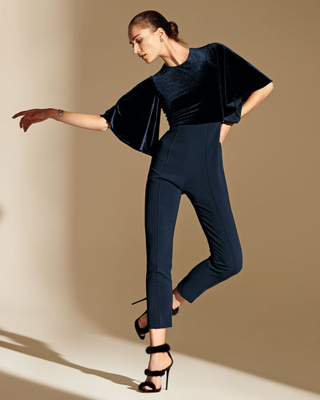 Black Halo Milla Colorblock Velvet-Bodice Flutter-Sleeve Straight-Leg Jumpsuit