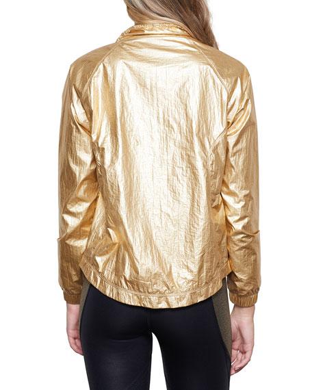 Good American Oversized Metallic Wind-Resistant Jacket - Inclusive Sizing