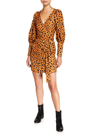 Rhode Frankie Cheetah-Print Wrap Dress