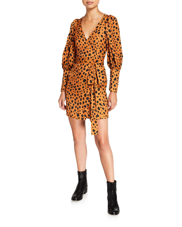 Frankie Cheetah Print Wrap Dress by Rhode