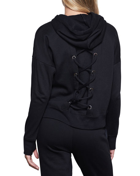 Image 3 of 4: Good American Laced Back Hoodie Jacket - Inclusive Sizing