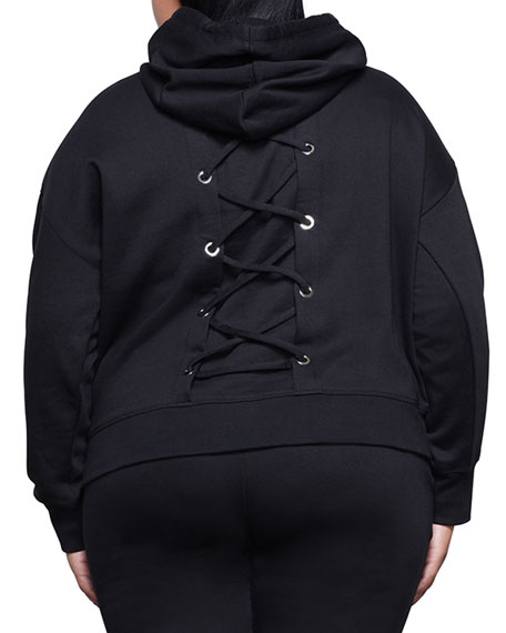 Image 4 of 4: Good American Laced Back Hoodie Jacket - Inclusive Sizing