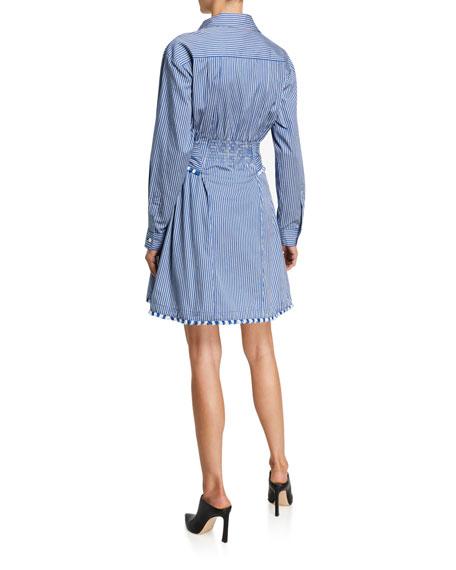Derek Lam 10 Crosby Iona Fray-Trimmed Belted Shirtdress