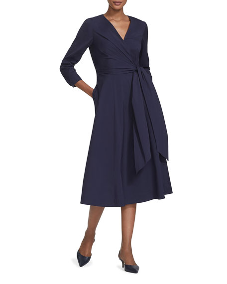 Lafayette 148 New York Penelope Stretch-Cotton Wrap-Front Midi Dress
