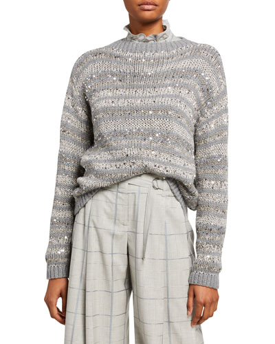 Striped Embellished Hand Knit Cashmere Sweater