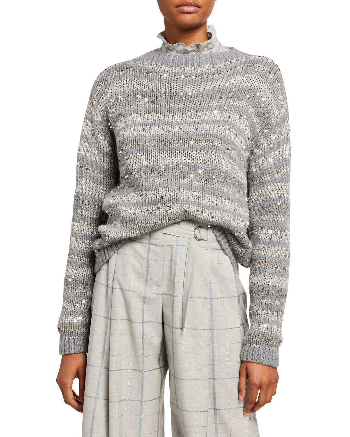 Striped Embellished Hand Knit Cashmere Sweater by Lafayette 148 New York