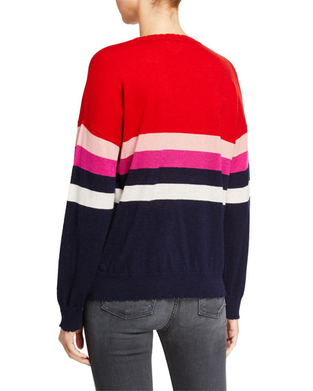 Sundry Striped Wool-Cashmere Crewneck Sweater