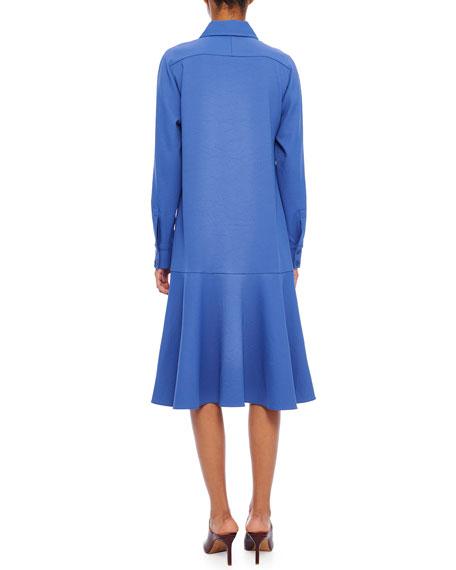 Tibi Chalky Drape Shirtdress With Flounce