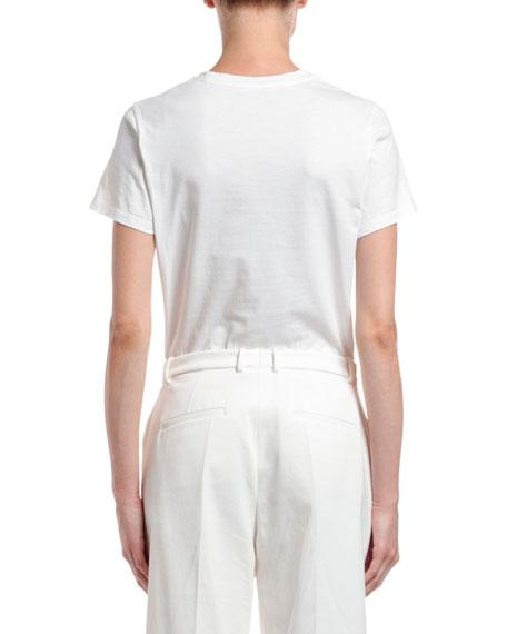 Moncler Short-Sleeve Cotton Gold Logo T-Shirt