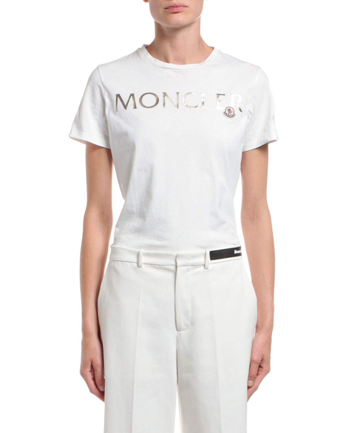 Moncler Short-Sleeve Cotton Gold Logo T-Shirt