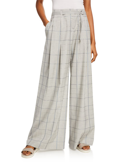 Lafayette 148 New York Cumberland Infinity Plaid Belted Wide-Leg Pants