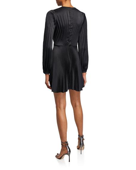 A.L.C. Tavi Pleated Long-Sleeve Short Dress