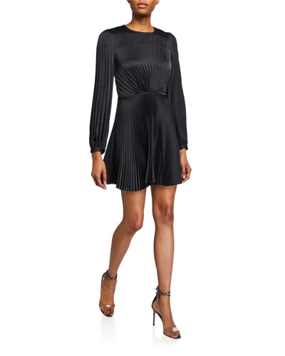 Tavi Pleated Long-Sleeve Short Dress