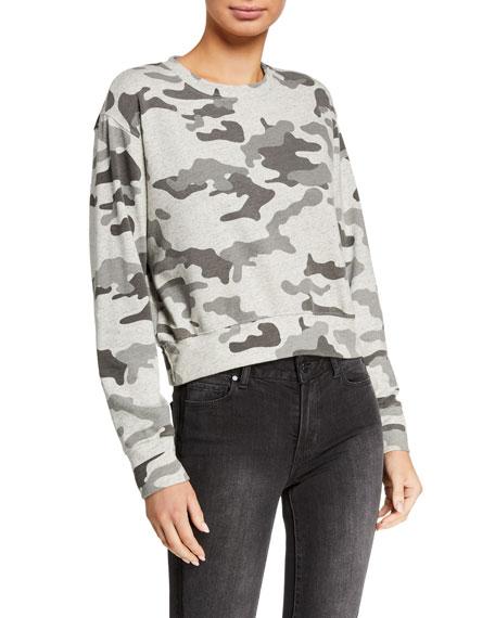 Sundry Camo Crop Blouson Sweatshirt
