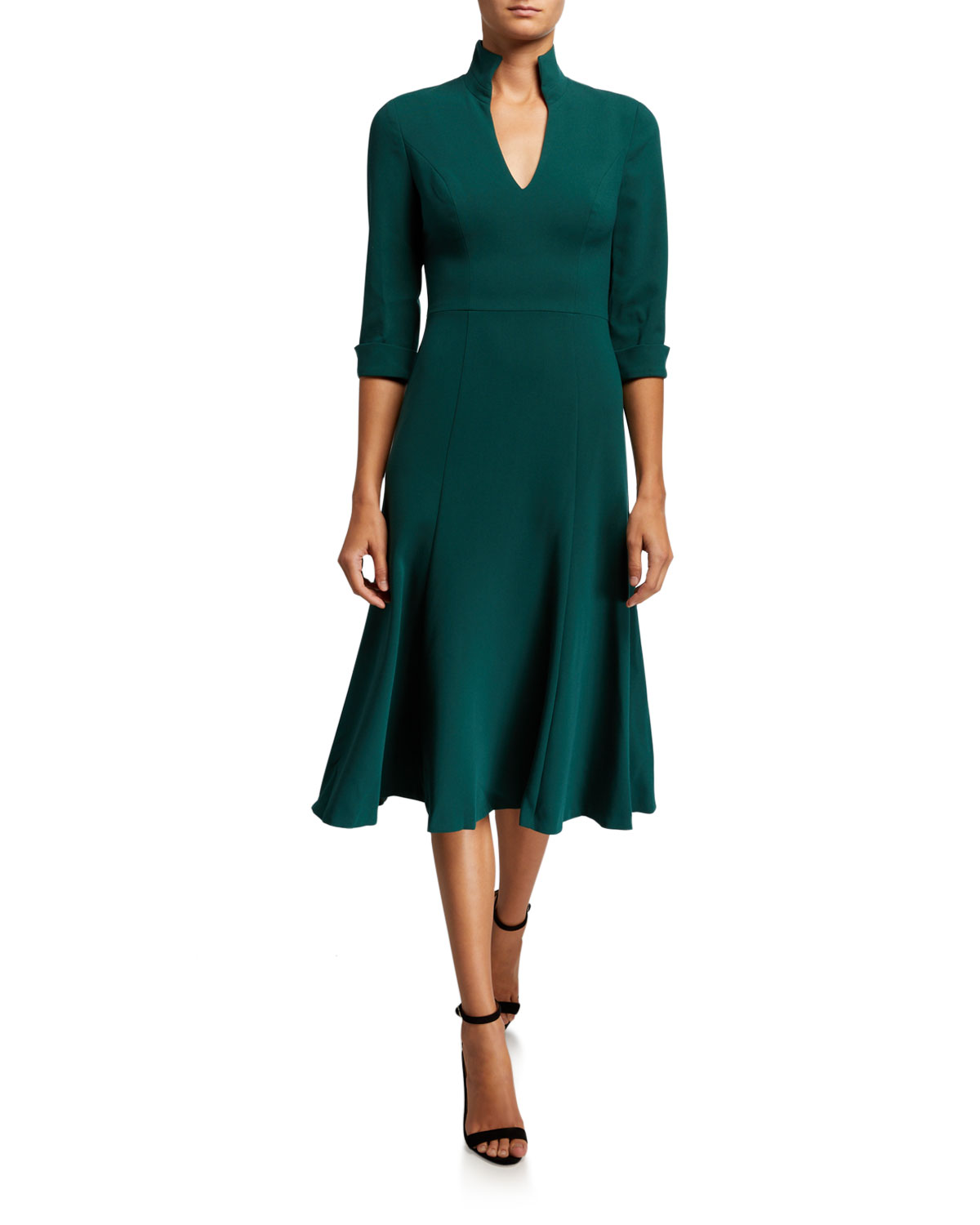 3/4 Sleeve Open Collar Midi Dress by Black Halo