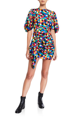 Rhode Pia Dot-Print Ruched Balloon-Sleeve Dress
