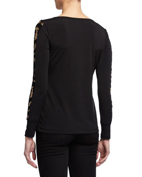 Anatomie Kiara Long-Sleeve Jersey Top w/ Golden Sleeve Details