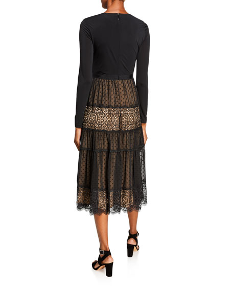 Catherine Deane Long-Sleeve Midi Dress w/ Jersey Bodice & Lace Skirt