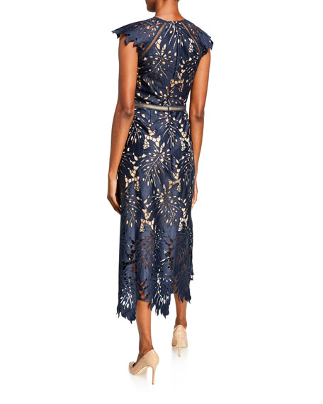 Catherine Deane Leaf Lace Midi Dress w/ Ladder Detail