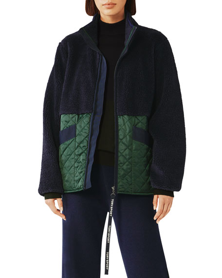 Tory Sport Sherpa & Quilted Zip-Front Jacket