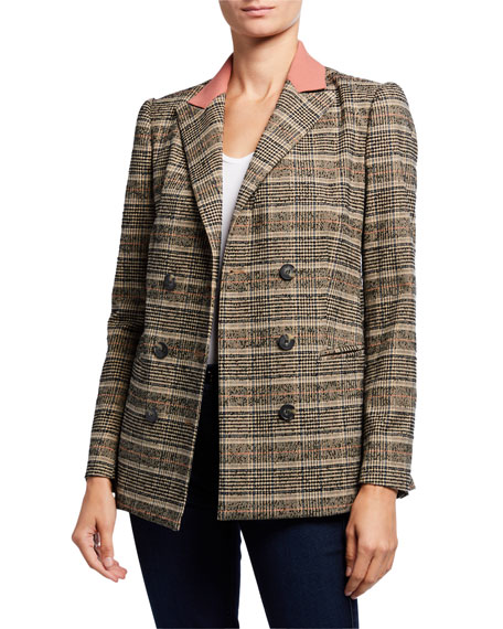 Rebecca Taylor Boucle Plaid Double-Breasted Jacket