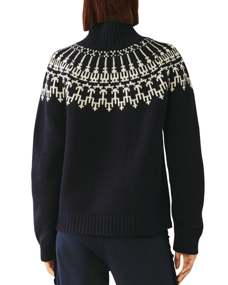 Tory Sport Fair Isle Wool Turtleneck Sweater