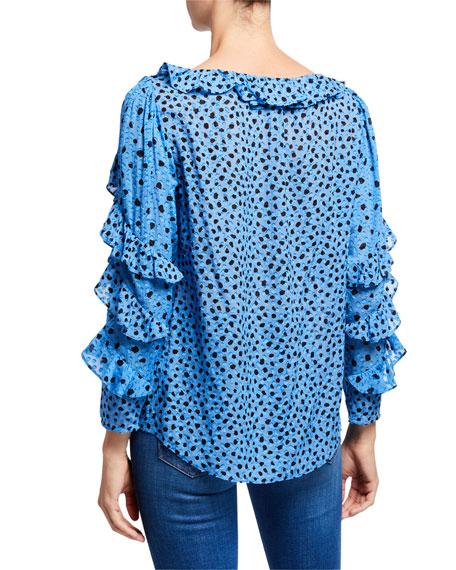 Rebecca Taylor Long-Sleeve Dot Clip Ruffle Top