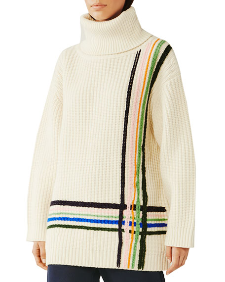 Tory Sport Multi Stripe Merino Wool Oversized Turtleneck Sweater