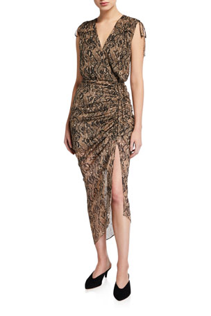 Veronica Beard Teagan Snake-Print Silk Midi Dress