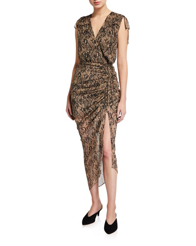 Teagan Snake-Print Silk Midi Dress