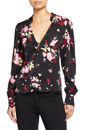 A.L.C. Rivera Abstract V-Neck Long-Sleeve Silk Top