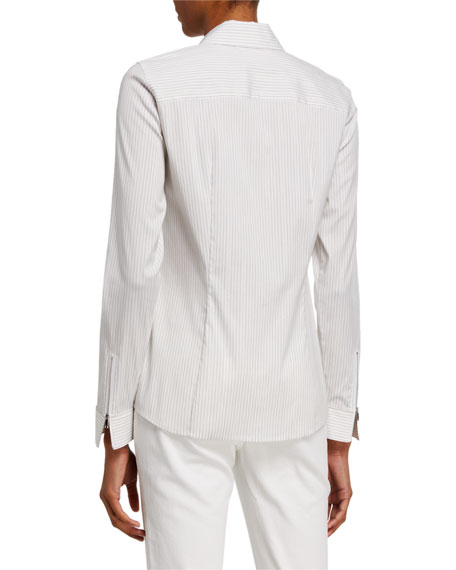 Lafayette 148 New York Connor Glistening Stripe Zip-Front Shirting Blouse