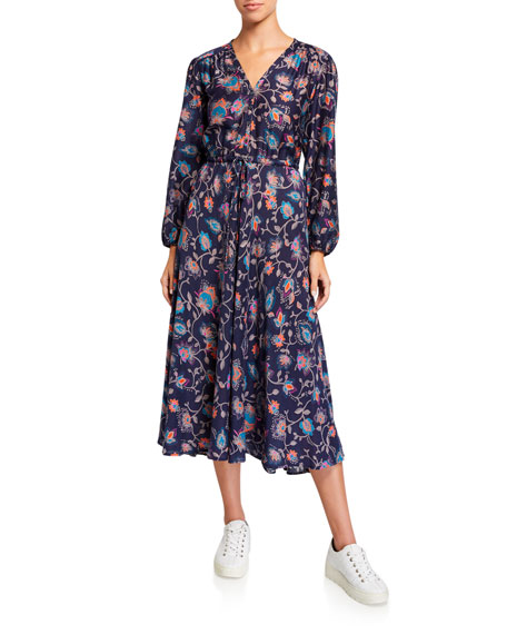 Image 1 of 2: Phoebe Floral Print Midi Dress
