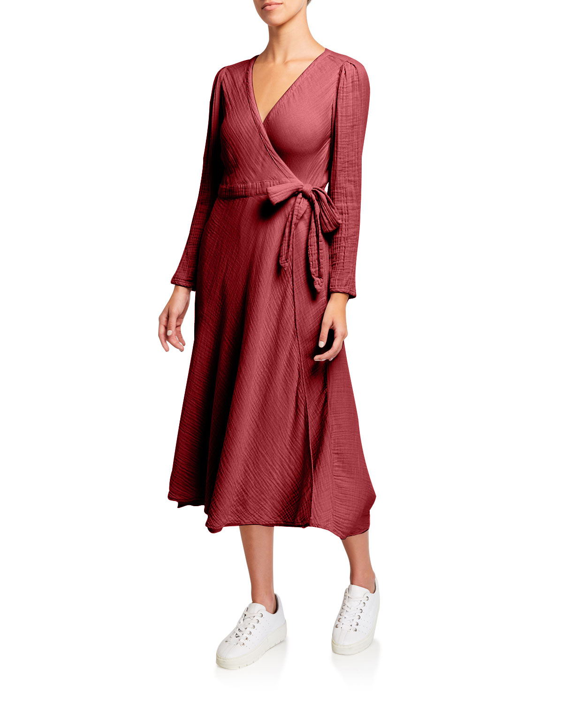 Xirena Reece Long-Sleeve Cotton Gauze Wrap Dress