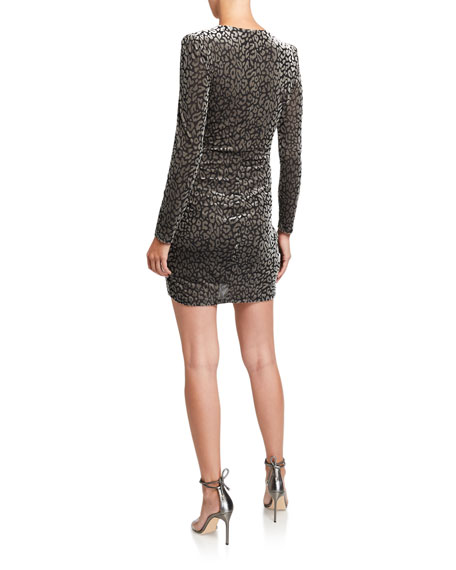ASTR Yasmin Leopard-Print Velvet Wrap Dress