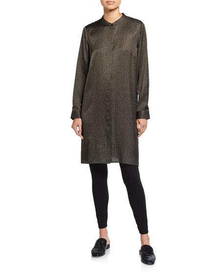 Eileen Fisher Petite Crossroad Print Mandarin-Collar Shirtdress