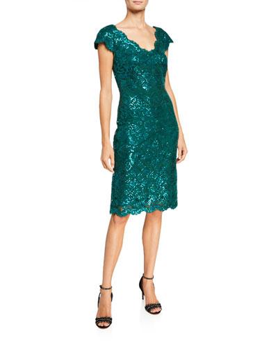 V-Neck Short-Sleeve Sequin Lace Sheath Dress