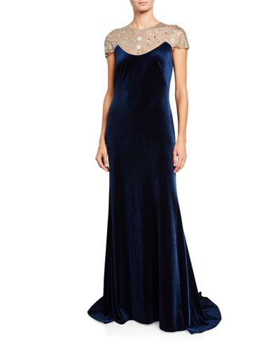 Cap Sleeve Velvet Gown w/ Bead Embellished Neck Detail