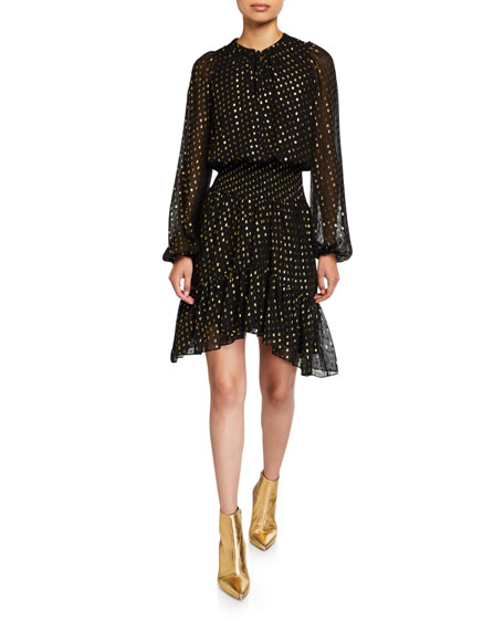 A.L.C. Sidney Metallic Long-Sleeve Flounce Dress