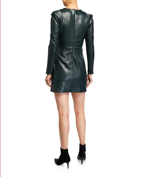 A.L.C. Lana Draped Leather Long-Sleeve Dress