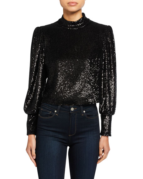 Margaret Sequined Long Sleeve Crop Top by A.L.C.