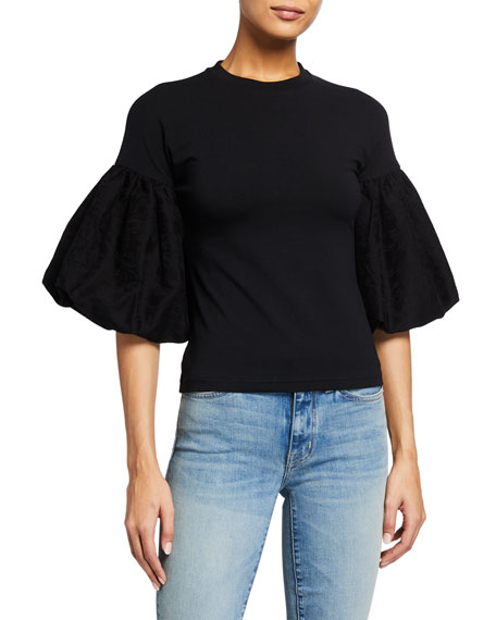 Image 1 of 2: Mother of Pearl Aubree Puff-Sleeve T-Shirt