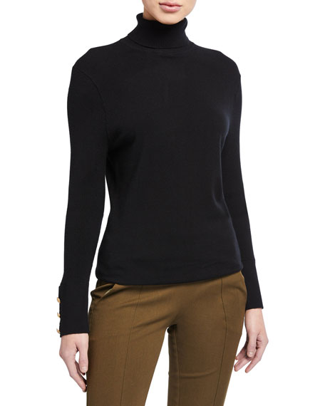 L'Agence Odette Turtleneck Sweater w/ Button Detail