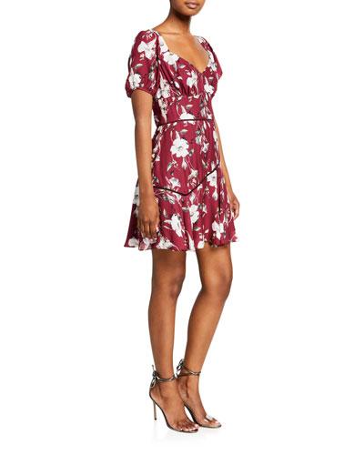 Cannes Floral-Print Sweetheart Mini Dress