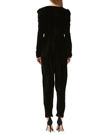 ML Monique Lhuillier Deep V Long-Sleeve Velvet Jumpsuit