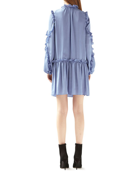 ML Monique Lhuillier Dropped-Waist Satin Ruffle Dress