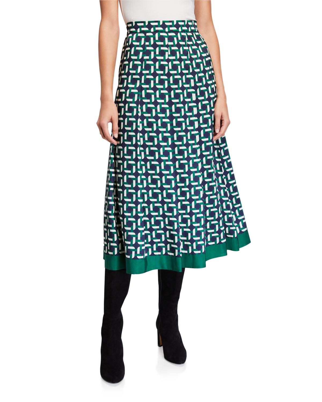 Lafayette 148 New York Fiona Geo Link Print Twill Midi Skirt